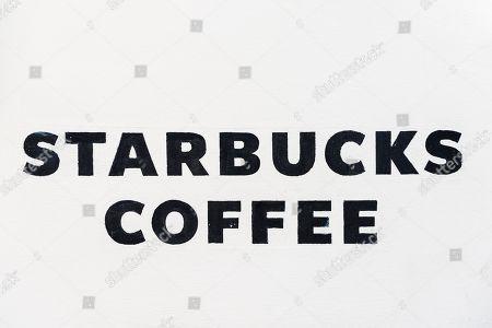 Starbucks Coffee, lettering, Prague, Czech Republic