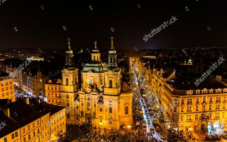 Church of St. Nicholas in Old Town Square, view from Old Town Hall at night, historic centre, Prague, Czech Republic