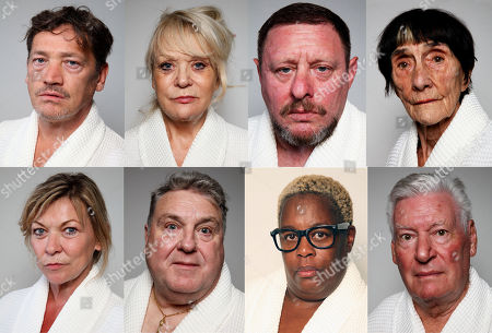 (l-r top) Sid Owen, Sherrie Hewson, Shaun Ryder, June Brown,  (l-r bottom) Claire King, Russell Grant, Sandra Martin, and Roy Walker.