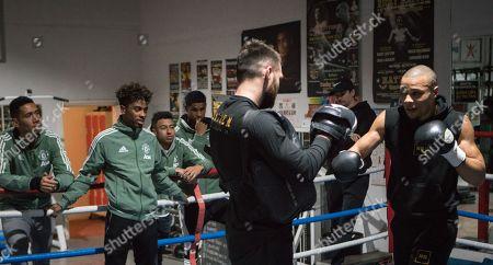 Chris Eubank Jr in training at Carrington, with Chris Smalling, Angel Gomes, Jesse Lingard and Martin Rashford.