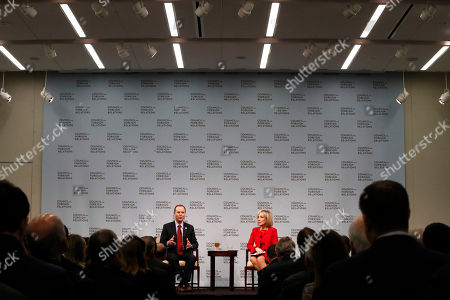 Adam Schiff, Andrea Mitchell. Rep. Adam Schiff, D-Calif., left, ranking member on the House Intelligence Committee, speaks with journalist Andrea Mitchell during a conversation at the Council of Foreign Relations, about Russia's election interference, in Washington