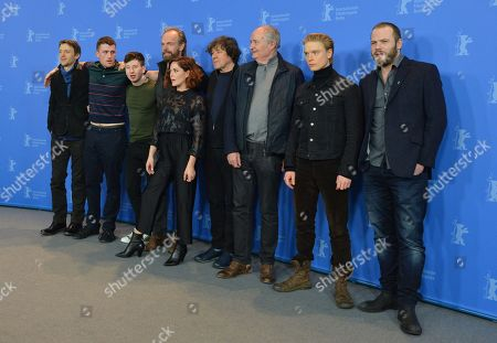 (L-R) Irish director Lance Daly, Australian actor James Frecheville , Irish actor Barry Keoghan, British-Australian actor Hugo Weaving , Irish actress Sarah Greene , British actor  Stephen Rea , British actor Jim Broadbent , British actor Freddie Fox  and Irish actor Moe Dunford during a photocall for 'Black 47' at the 68th annual Berlin International Film Festival (Berlinale), in Berlin, Germany, 16 February 2018. The Berlinale runs from 15 to 25 February.