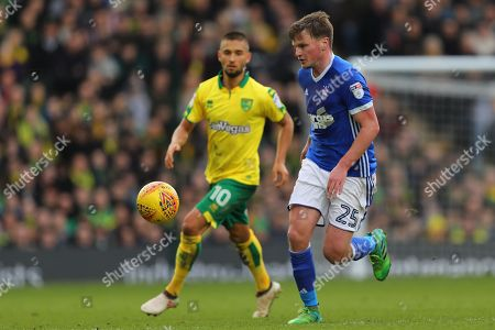 Stephen Gleeson of Ipswich Town and Moritz Leitner of Norwich City - Norwich City v Ipswich Town, Sky Bet Championship, Carrow Road, Norwich - 18th February 2018.