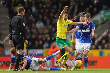 Stock Picture of Nelson Oliveira of Norwich City tries to find a way past Luke Chambers (left) and Stephen Gleeson (right) of Ipswich Town - Norwich City v Ipswich Town, Sky Bet Championship, Carrow Road, Norwich - 18th February 2018.