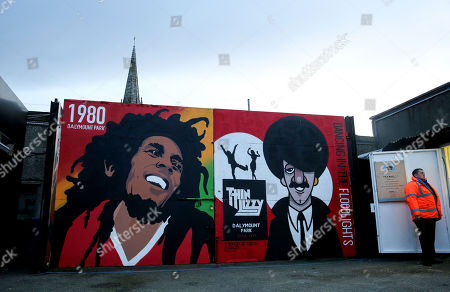 Bohemians vs Shamrock Rovers. A view of a Bob Marley and Phil Lynott mural in Dalymount Park