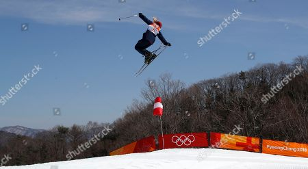 Stock Picture of Katie Summerhayes of Great Britain in action during the Women's Freestyle Skiing Ski Slopestyle final at the Bokwang Phoenix Park during the PyeongChang 2018 Olympic Games, South Korea, 17 February 2018.