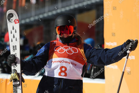 Katie Summerhayes of Great Britain reacts after the Women's Freestyle Skiing Ski Slopestyle final at the Bokwang Phoenix Park during the PyeongChang 2018 Olympic Games, South Korea, 17 February 2018.
