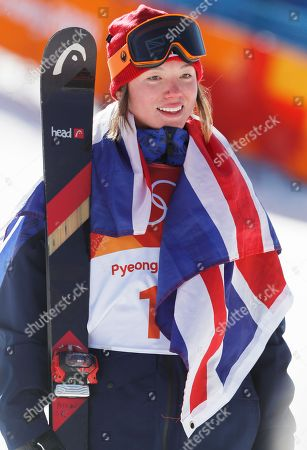 Bronze medalist Isabel Atkin of Great Britain  after the Women's Freestyle Skiing Ski Slopestyle final at the Bokwang Phoenix Park during the PyeongChang 2018 Olympic Games, South Korea, 17 February 2018.