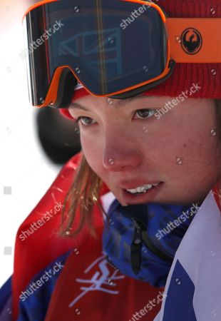 Bronze medalist Isabel Atkin of Great Britain reacts after the Women's Freestyle Skiing Ski Slopestyle competition at the Bokwang Phoenix Park during the PyeongChang 2018 Olympic Games, South Korea, 17 February 2018.