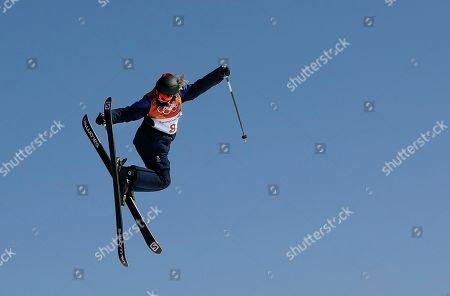 Stock Photo of Katie Summerhayes, of Britain, jumps during the women's slopestyle finals at Phoenix Snow Park at the 2018 Winter Olympics in Pyeongchang, South Korea