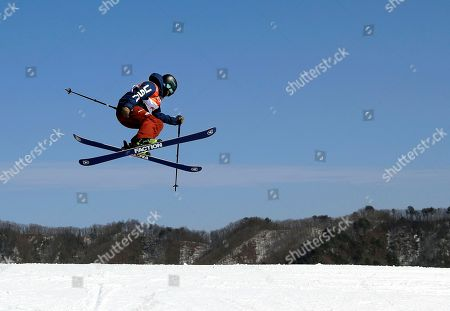 Devin Logan, of the United States, jumps during the women's slopestyle finals at Phoenix Snow Park at the 2018 Winter Olympics in Pyeongchang, South Korea