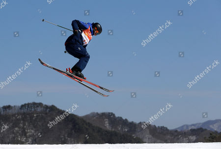 Isabel Atkin, of Britain, jumps during the women's slopestyle finals at Phoenix Snow Park at the 2018 Winter Olympics in Pyeongchang, South Korea