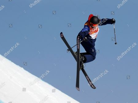 Katie Summerhayes, of Britain, jumps during the women's slopestyle finals at Phoenix Snow Park at the 2018 Winter Olympics in Pyeongchang, South Korea