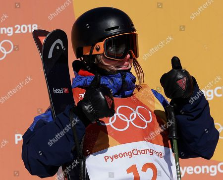 Isabel Atkin, of Britain, reacts to her score during the women's slopestyle finals at Phoenix Snow Park at the 2018 Winter Olympics in Pyeongchang, South Korea