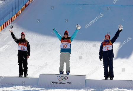From left; Silver medal winner Mathilde Gremaud, of Switzerland, gold medal winner Sarah Hoefflin, of Switzerland, and Bronze medal winner Isabel Atkin, of Britain, celebrate after the women's slopestyle finals at Phoenix Snow Park at the 2018 Winter Olympics in Pyeongchang, South Korea