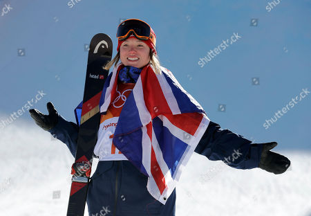 Bronze medal winner Isabel Atkin, of Britain, celebrates after the women's slopestyle finals at Phoenix Snow Park at the 2018 Winter Olympics in Pyeongchang, South Korea