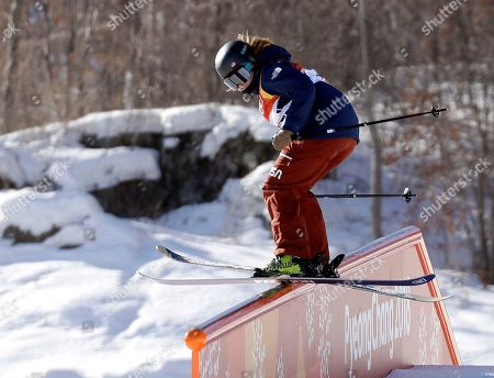 Devin Logan, of the United States, runs the course during the women's slopestyle qualifying at Phoenix Snow Park at the 2018 Winter Olympics in Pyeongchang, South Korea