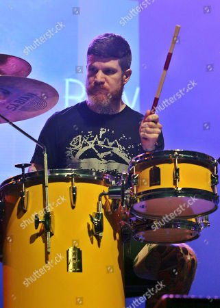 Andy Hurley with Fall Out Boy performs during the Q100 Birthday Blowout at the Coca-Cola Roxy Theatre, in Atlanta