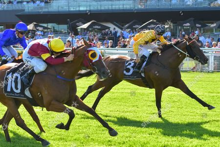 Jockey Tim Clark rides Faraway Town (L) rides to win race 7, the Robrick Lodge Triscay Stakes, during The Star Chinese Festival of Racing at Randwick Racecourse in Sydney, New South Wales, Australia, 17 February 2018.