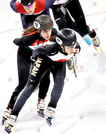 Sumire Kikuchi of Japan leads the pack during the Women's Short Track Speed Skating 1500 m heat at the Gangneung Ice Arena during the PyeongChang 2018 Olympic Games, South Korea, 17 February 2018.