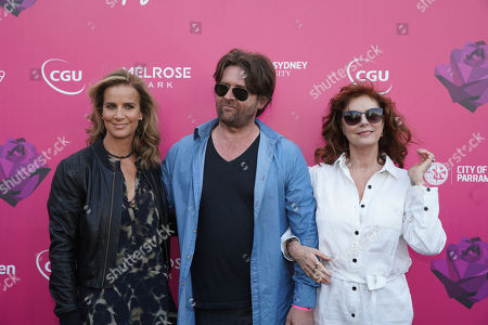 (L-R) Rachel Griffiths, John Polson and Susan Sarandon pose for photographs on the black carpet ahead of the 2018 Tropfest Film, Food and Live entertainment festival at Parramatta Park in Sydney, Australia, 17 February 2018. The festival is described by its organizers as the 'World's Largest Short Film Festival'.