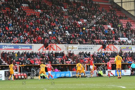 The crowd in the Don Rogers Stand watching play during the EFL Sky Bet League 2 match between Swindon Town and Port Vale at the County Ground, Swindon. Picture by Graham Hunt