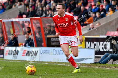 Matthew Taylor (31) of Swindon Town on the attack during the EFL Sky Bet League 2 match between Swindon Town and Port Vale at the County Ground, Swindon. Picture by Graham Hunt