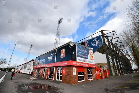 The ticket office at the Town End and the Don Rogers Stand from outside The County Ground before the EFL Sky Bet League 2 match between Swindon Town and Port Vale at the County Ground, Swindon. Picture by Graham Hunt