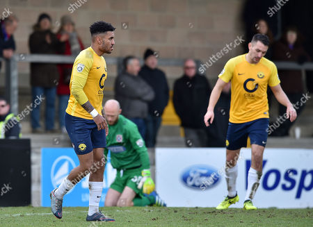 dejected after missing a scoring opportunity, Jamie Reid of Torquay United & Brett Williams of Torquay United, during the Vanarama National League match between Torquay United and Dagenham & Redbridge at Plainmoor, Torquay, Devon on February 17