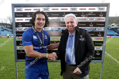 Leinster vs Scarlets. Leinster?s James Lowe is presented the man of the award by Paul Morrissey of Diageo