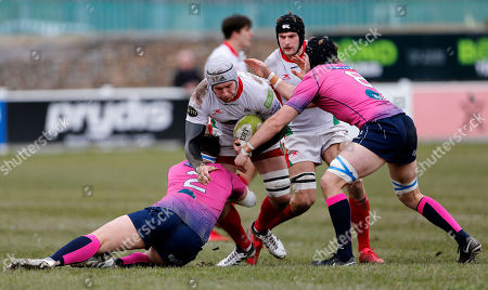 Dan Williams, Captain of Plymouth Albion is tackled by Chris Wood of Darlington Mowden Park during the National Division 1 match between Plymouth Albion v Darlington Mowden Park at the Brickfields Recreation Ground, on February 17th 2018, Plymouth, Devon, UK.