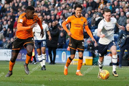 Preston North End midfielder Alan Browne (8) gets away from Wolverhampton Wanderers midfielder Alfred N'Diaye (4) during the EFL Sky Bet Championship match between Preston North End and Wolverhampton Wanderers at Deepdale, Preston. Picture by Craig Galloway