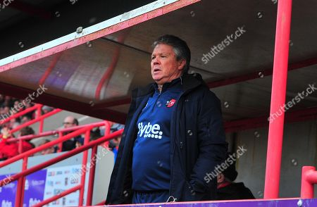 Steve Perryman, Director of Football of Exeter City shouts instructions from the stand during the Sky Bet League 2 Match between Exeter City and Mansfield Town at St James Park, Exeter, Devon on February 17.