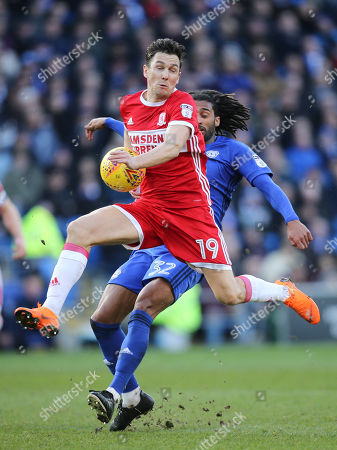 Armand Traore of Cardiff City is challenged by Stewart Downing of Middlesbrough