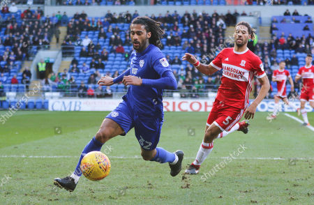 Armand Traore of Cardiff City wins the ball from Ryan Shotton of Middlesbrough