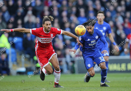 Armand Traore of Cardiff City and Ryan Shotton of Middlesbrough chase the ball