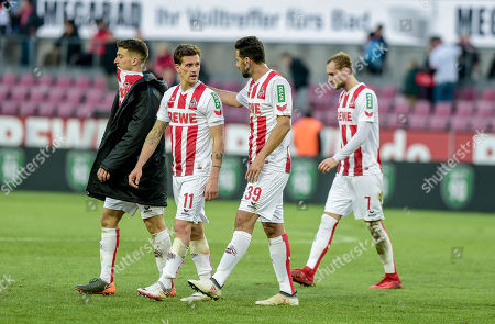 Football : Germany - Europa League 2017/18  1.FC Koen Vs Hannover 96 17.02.2018 - 1. FC koeln players feels sad after a last minute goal was not allowed, because of an off-side ruling by the Markus Schmidt (ref)at the RheinEnergie Stadium. Simon Zoller (1. FC Koeln), Claudio Pizarro (1. FC Koeln)