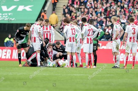 Football : Germany - Europa League 2017/18  1.FC Koen Vs Hannover 96 17.02.2018 - Simon Zoller (1. FC Koeln) injured during the game, at the RheinEnergie Stadium