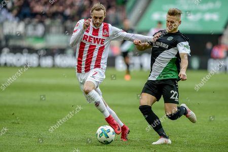 Football : Germany - Europa League 2017/18  1.FC Koen Vs Hannover 96 17.02.2018 - Marcel Risse (1. FC Koeln), Matthias Ostrzolek (Hannover 96) at the RheinEnergie Stadium