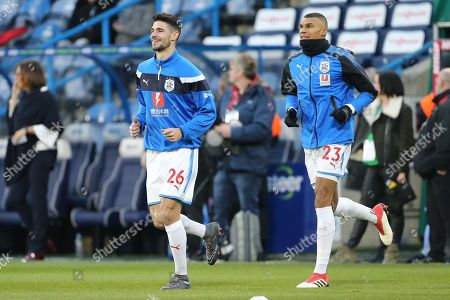Huddersfield's Collin Quaner & Christopher Schindler(Capt) during the The FA Cup match between Huddersfield Town and Manchester United at the John Smiths Stadium, Huddersfield. Picture by George Franks