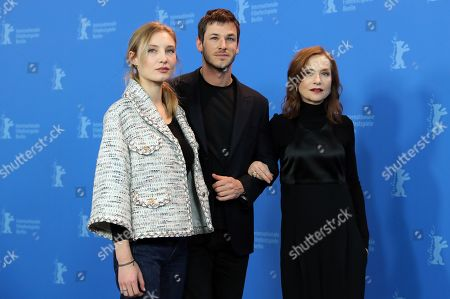 Actor Gaspard Ulliel (C) and actresses Julia Roy (L) and Isabelle Huppert pose during a photocall for 'Eva' at the 68th annual Berlin International Film Festival (Berlinale), in Berlin, Germany, 17 February 2018. The Berlinale runs from 15 to 25 February.