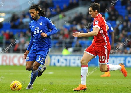 Stewart Downing of Middlesbrough applies pressure on Armand Traore of Cardiff City- Mandatory by-line: Nizaam Jones/JMP