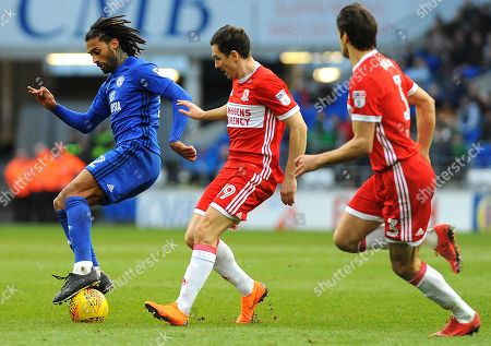 Armand Traore of Cardiff City is challenged by Stewart Downing of Middlesbrough- Mandatory by-line: Nizaam Jones/JMP