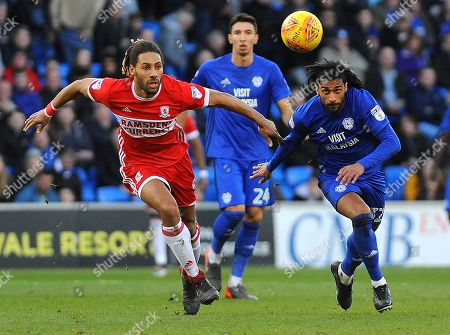 Ryan Shotton of Middlesbrough competes with Armand Traore of Cardiff City- Mandatory by-line: Nizaam Jones/JMP