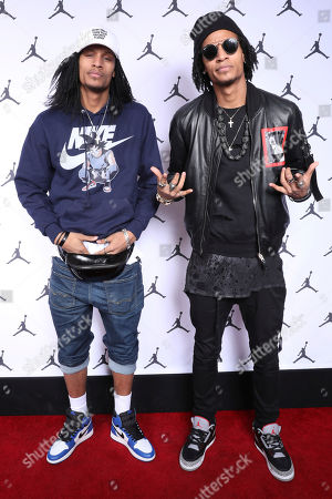 Les Twins, friends of Jordan Brand, arrive at the Jordan Brand All-Star Party on in Los Angeles