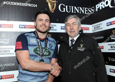 Cardiff Blues vs Munster. Cardiff Blues' Ellis Jenkins is presented with the man of the match award by Richard Thomas