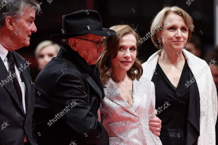 (L-R) Director Benoit Jacquot, festival director Dieter Kosslick, Actress Isabelle Huppert and French ambassador in Germany, Anne-Marie Descotes, pose at the premiere of 'Eva' during the 68th annual Berlin International Film Festival (Berlinale), in Berlin, Germany, 17 February 2018. The Berlinale runs from 15 to 25 February.