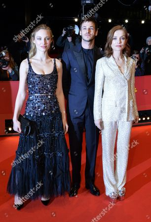 Actor Gaspard Ulliel (C) and actresses Isabelle Huppert (R)  and Julia Roy arrive for the premiere of 'Eva' during the 68th annual Berlin International Film Festival (Berlinale), in Berlin, Germany, 17 February 2018. The Berlinale runs from 15 to 25 February.