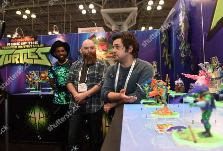 Brandon Mychal Smith, Ant Ward, Andy Suriano. Andy Suriano, right, and Ant Ward, center, co-executive producers of Nickelodeon's brand-new animated series Rise of the Teenage Mutant Ninja Turtles, and Brandon Mychal Smith, left, the voice of Michelangelo, discuss the series and the new toy line from Playmates Toys during the North American International Toy Fair in New York