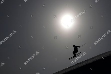 Stock Image of Alex Hall, of the United States, jumps during the men's slopestyle qualifying at Phoenix Snow Park at the 2018 Winter Olympics in Pyeongchang, South Korea